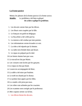 Forme passive (Passive voice in French) worksheet 2