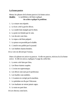Forme passive (Passive voice in French) worksheet 3