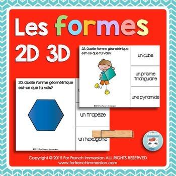 Formes géométriques 2D 3D Shapes in FRENCH Clip Cards