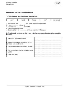 Forming Adverbs Worksheet