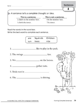 Forming Complete Sentences