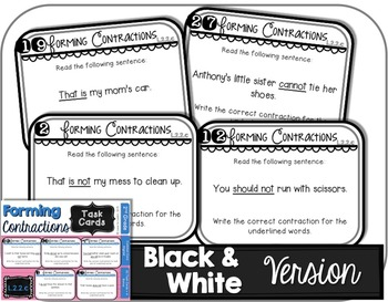 Forming Contractions Task Cards - 2nd Grade