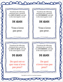 Forming French questions with interrogative words - 100 Practice Cards