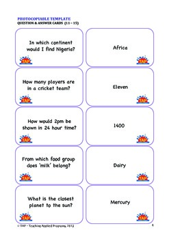 Forming Pairs - Question & Answer cards