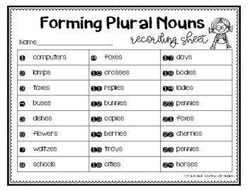 Forming Plural Nouns Grammar Task Cards, Games, and Centers