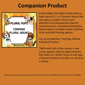 Forming Plurals   3 Separate CENTER ACTIVITIES