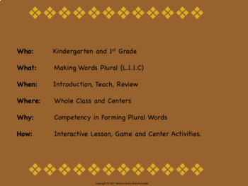 Forming Plurals COMPLETE LESSON PLAN  + Activities L.1.1.C