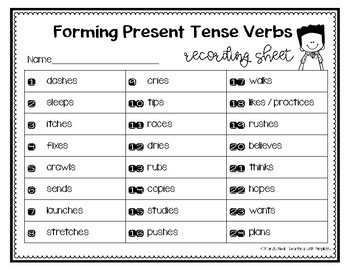 Forming Present Tense Verbs Grammar Task Cards, Games, and Centers