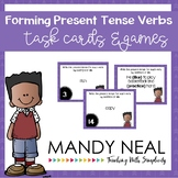 Forming Present Tense Verbs Grammar Task Cards, Games, and