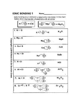 Ionic Bonding Worksheet by Scorton Creek Publishing - Kevin Cox | TpT