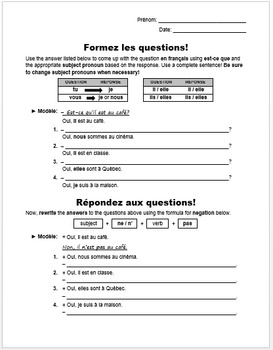 Forming and Responding to Yes/No Questions in French