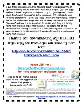 Forming and Supporting Opinions - Formative Assessment - FREEBIE