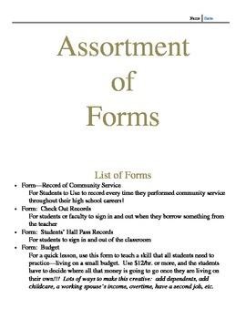 Forms Assortment for the Classroom