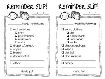 Reminder Slips - For Pre-K Teachers