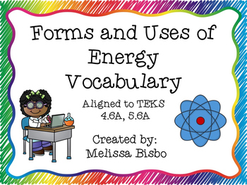 Forms and Uses of Energy Vocabulary Posters and Activities