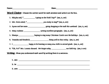 Forms of Be Word Choice Printable