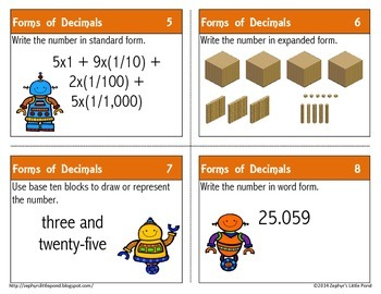 Forms of Decimals {Math Task Cards}