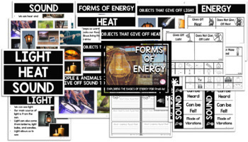 FORMS OF ENERGY{PreK-2 Activities, Sorting, & Picture Informational Signs}