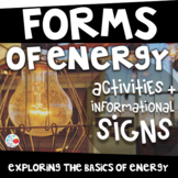 FORMS OF ENERGY{PreK-2 Activities & Picture Informational Signs (TEKS & CCSS)