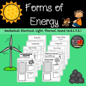 Forms of Energy Notes, Worksheets, and Research Project (M.E.L.T.S.)