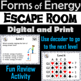 Forms of Energy Activity Escape Room: Potential Kinetic, Thermal, Mechanical etc
