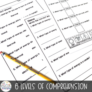 Forms of Energy Adapted Book & Comprehension for Special Education