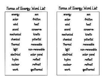 Forms of Energy Bingo