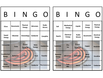 Forms of Energy Bingo Review Activity