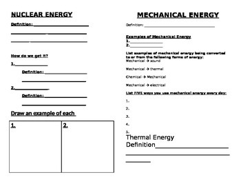 Forms of Energy Booklet