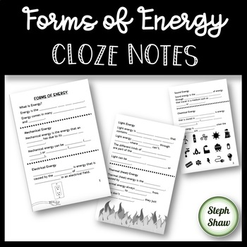 Forms of Energy CLOZE Notes - Scaffolded Notes!
