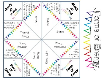 Forms of Energy Vocabulary Cootie Catcher