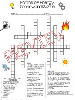 Forms of Energy Crossword Puzzle