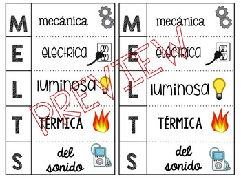 Forms of Energy Foldable (M.E.L.T.S.) **Spanish and English BUNDLE**