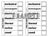 Forms of Energy Foldable - Science Fusion - Unit 2, Lesson 1