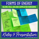 Forms of Energy Foldable Vocabulary Notes with PowerPoint