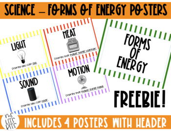 Forms of Energy posters - Light, Sound, Heat, Motion