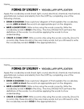 Forms of Energy Matching Sort Cut & Paste- Definitions and Examples, Application