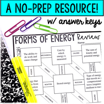 Forms of Energy Maze Worksheet