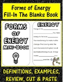 Forms of Energy Mini Book: definitions, examples, review, cut & paste