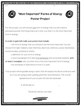 Forms of Energy Persuasive Writing Poster Project