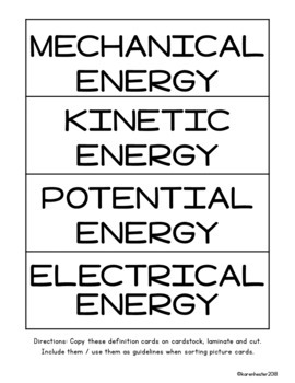 Forms of Energy Picture Sorts