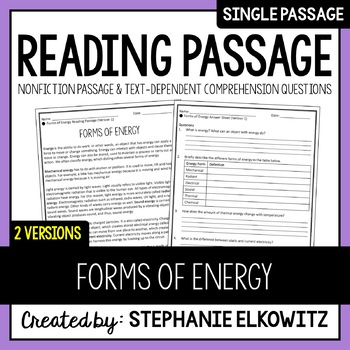 Forms of Energy Reading Passage
