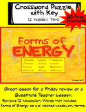 Forms of Energy Review Crossword Puzzle and Key