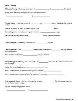 Forms of Energy Review Worksheet by Family 2 Family Learning Resources