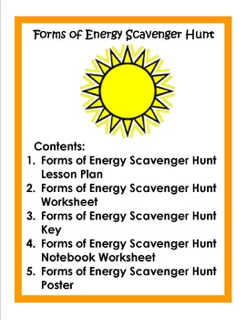 Forms of Energy Scavenger Hunt by Science Notebook Chick | TpT