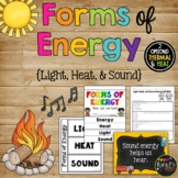 Forms of Energy Set with Heat Light and Sound Activities 1st 2nd 3rd Grade