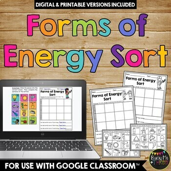 Forms of Energy Sort Worksheet Heat (Thermal), Light, Sound ...