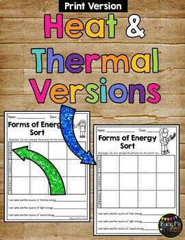 Forms of Energy Sort Worksheet Heat (Thermal), Light, Sound {1st & 2nd  Grade}