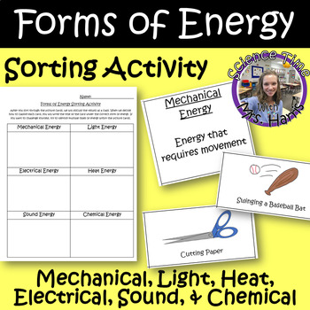 Forms of Energy Sorting Activity INCLUDED Students Recording Sheet