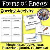 Forms of Energy Sorting Activity INCLUDED Students Recordi